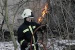 Požár v Klavarech. 19.2. 2009