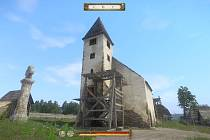 Kostel v Úžicích  - pohled ze hry