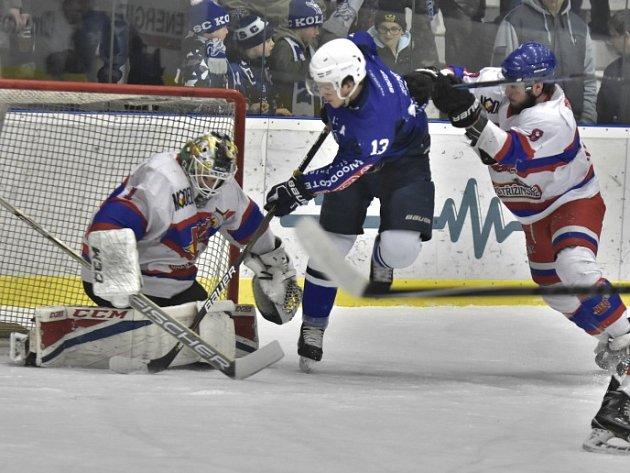 Třetí utkání osmifinálové série vyhrál Kolín nad Nymburkem 5:2.
