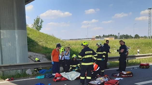Nehoda na kolínském obchvatu.