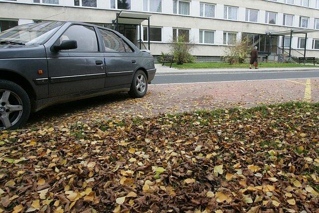 Ulice Masarykova v záplavě listí.