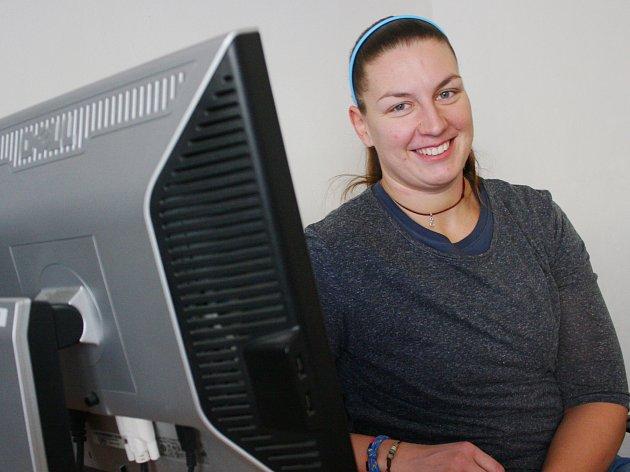 Olympionička Kateřina Šafránková na on-line rozhovoru v redakci Kolínského deníku.