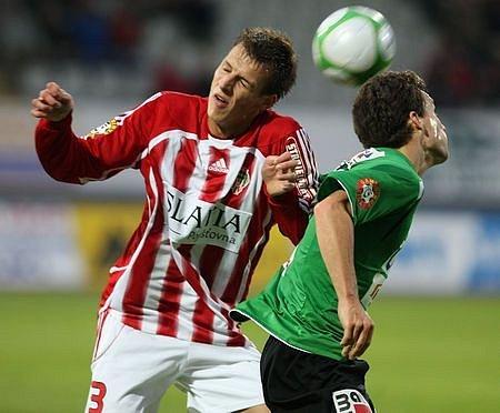 Luboš Hruška (vlevo) bojuje s Davidem Lafatou.