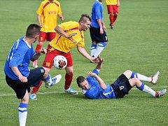 Z utkání Radim - Krakovany (0:1).