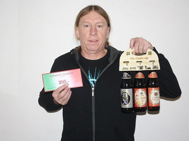 Václav Tesařík z Olešky vyhrál karton piv značky Rohozec a poukázku v hodnotě 200,-Kč do kolínské pizzerie Marilyn.