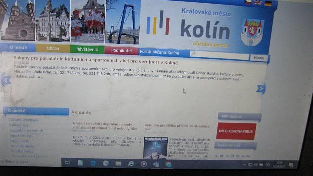 Současný web města Kolína.
