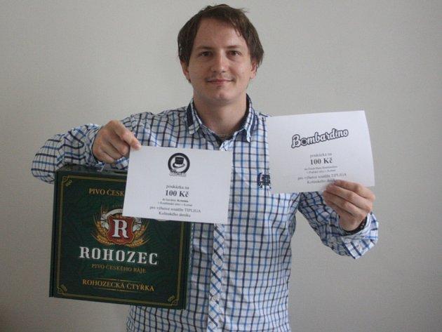 Michal Mikeš vyhrál karton piv značky Rohozec, poukaz v hodnotě 100,-Kč do kavárny Kristián a poukaz v hodnotě 100,-Kč do Fresh baru Bombardino.