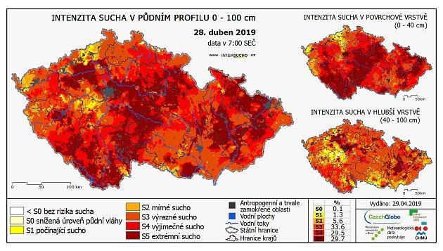 Sucho vČeské republice k28. dubnu 2019.Letošní duben podle zemědělců byl ještě sušší než ten loňský.