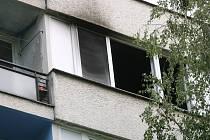 Požár garsonky v 6. patře paneláku v kolínské Masarykově ulici
