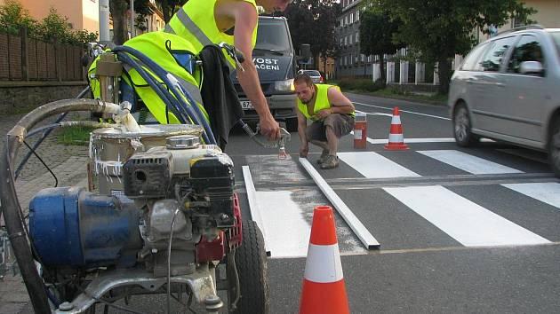 Obnova dopravního značení v Benešově ulici