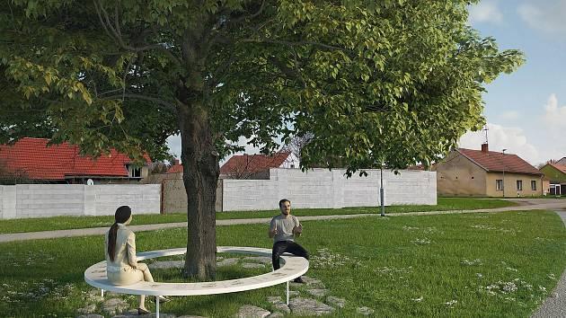 Vizualizace Renčínovy lavičky v Pečkách.