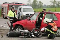 Dopravní nehoda nedaleko Kolína u odbočky na Křečhoř