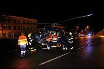 Vážná dopravní nehoda dvou osobních vozidel na mostě přes Labe v Ovčárecké ulici v Kolíně.