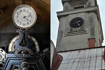 Věžní hodiny v Jubilejním chrámu Mistra Jana Husa v Pečkách.