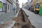 Rekonstrukce Kouřimské ulice v Kolíně, únor 2018