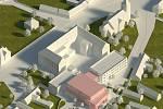 Model přístavby Základní školy v Pečkách.
