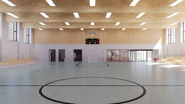 Vizualizace budoucí podoby tréninkové a sportovní haly v Borkách