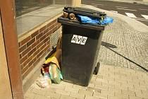 Odpad mimo popelnice v Kolíně.