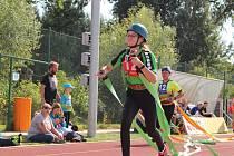 Ze soutěže v požárním sportu 'Vítězovská stovka' ve sportovním areálu ve Velimi.