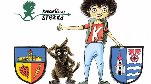 Grafická upoutávka na Kudrnáčovu stezku z Klučova do Poříčan.
