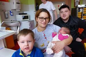 Julie Hetfleišová se narodila 9.1.2019, vážila 3435 g a měřila 50 cm. Vyrůstat bude v Kolíně společně s bráškou Vašíkem (3) a rodiči Julií a Václavem.