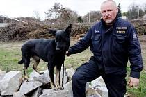 Policisté cvičili psy na zimním stadionu.