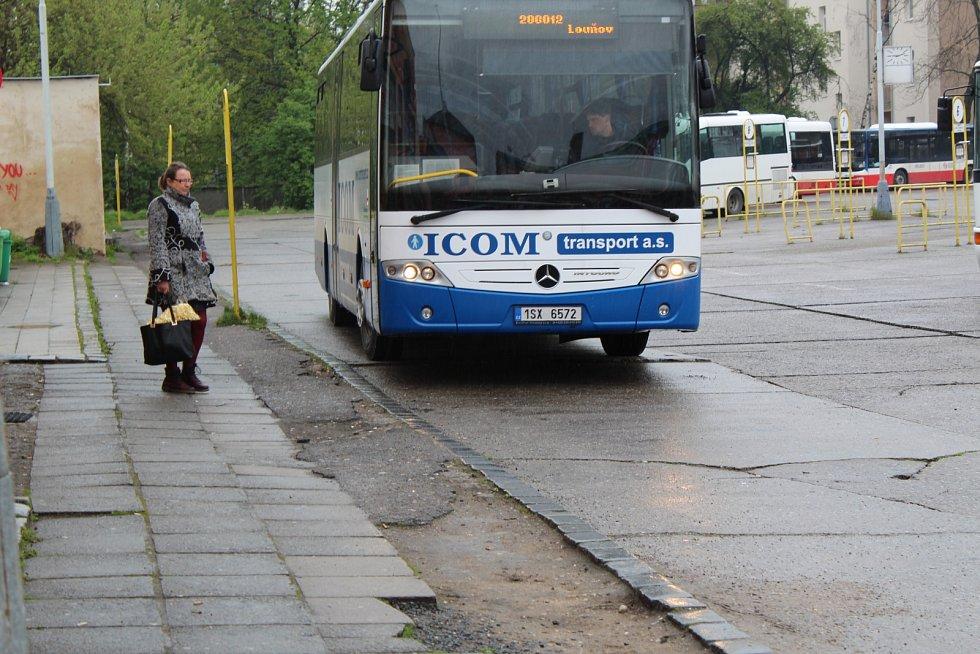 Autobusové nádraží v Kolíně před zahájením rekonstrukce