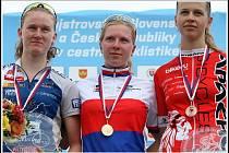 Elena Vaníčková (uprostřed) ovládla závod s hromadným startem.