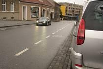 Pražská ulice a napojení Sluneční ulice v Kolíně, březen 2021.