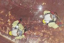 Do čištění vodojemu se pustila výjezdová jednotka pečeckých hasičů. Věž vznikla v letech 1930 – 1932 patrně podle projektu Františka Jandy, autora podobných staveb v Kolíně a Poděbradech. Od té doby se v záznamech nenašla zmínka o jejím čištění.
