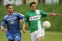 Michal Koštíř (vpravo) dal v minulé sezoně třináct gólů, ale to na záchranu nestačilo