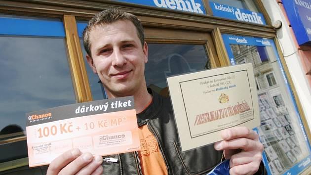 Viktor Urbach z Kolína vyhrál pivo Staropramen i s originálním půllitrem, poukaz na pohoštění do kolínského Restaurantu U Tří Mouřenínů v hodnotě tří set korun a také dárkový sázkový certifikát společnosti Chance v hodnotě jednoho sta korun.