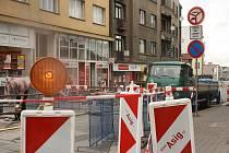 Uzávěrka Mostní ulice v Kolíně