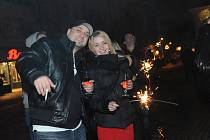 Silvestrovská půlnoc na kolínském náměstí