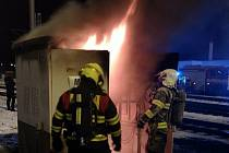 Požár elektrického rozvaděče na vlakovém nádraží v Kolíně.