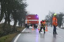 Hasiči odklízeli popadané větvě v Červeném Hrádku v pondělí 10. února 2020 ráno.