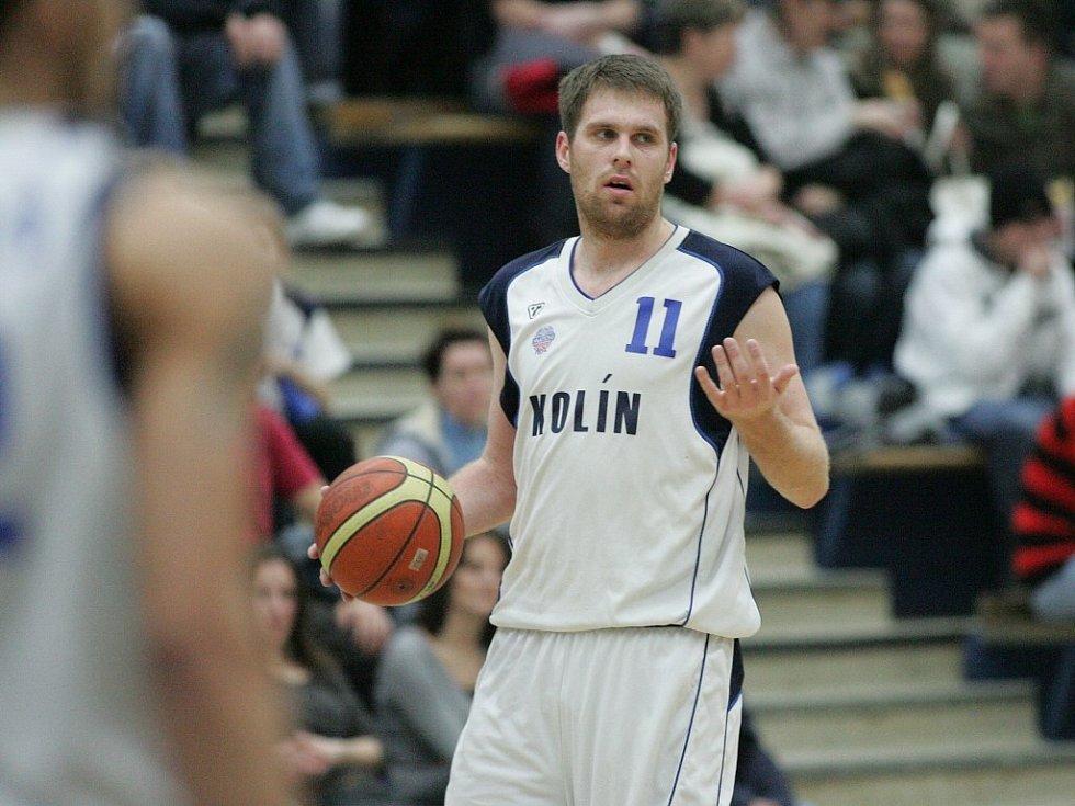 David Machač při utkání Mattoni NBL Kolín - NH Ostrava (94:75).