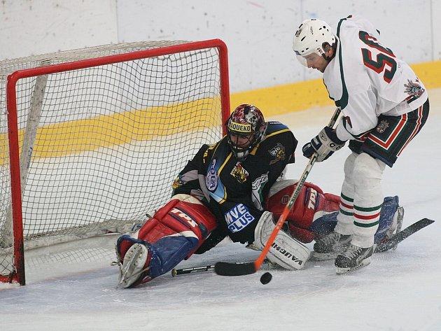 Z utkání Krajské hokejové ligy Žabonosy - Kutná Hora (1:4).