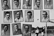 Vroce 1929 byla v Kolíně velká sláva. AFK Kolín se stal  amatérským mistrem Československa. Nahoře zleva: Kučera,  Kadeřábek, Moták, Musil, Pospíšil. Uprostřed zleva: Nepraš, Ptáček, Šafránek, Bína. Dole zleva: Chlubný, Kříž, Vavák.