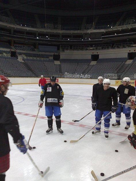 Kolínští hokejisté na tréninku v O2 Areně.