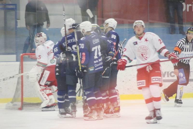 Z hokejového utkání Chance ligy Kolín - Slavia Praha