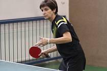 V sobotu hrála proti Kolínu legenda Československého stolního tenisu Jitka Nyklová-Karlíková.