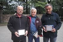 Ocenění (zleva): Jaromír Smeták, Václav Rác, Josef Lebeda