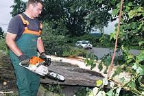 Odstraňování škod po větrné bouři na Trutnovsku