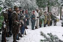 Položení kytice a vzpomínku na padlé v ozbrojených konfliktech v neděli při Dni válečných veteránů doprovázelo nepříznivé počasí..