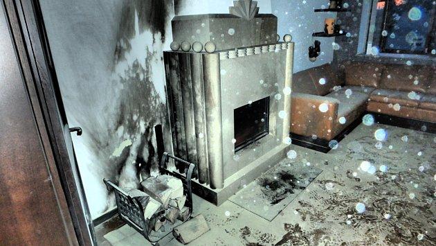 Vrodinném domě hořelo od krbu. Škoda je 100tisíc korun.