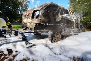 V Kašově shořelo auto u železničního přejezdu, požár vznikl za jízdy.