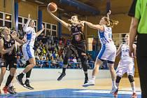 """Východočeské derby basketbalistek skončilo výhrou hradeckých """"lvic""""."""