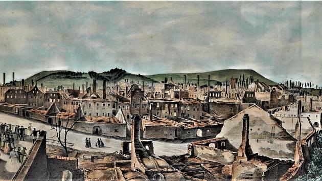 Trutnov po nejničivějším požáru v historii, který postihl město 27. května 1861.