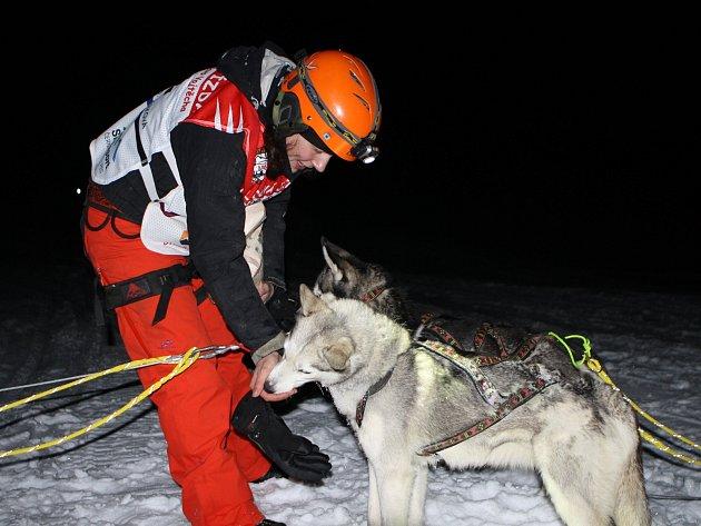 Šestnáct posádek psích spřežení, v závěsu s běžkařem, vyrazilo na noční etapu Ledové jízdy z Pece pod Sněžkou od sjezdovky Javor a končilo na Hanapetrově pasece v Dolním Dvoře.